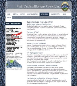 Cover photo for North Carolina Blueberry Council Website for Consumers